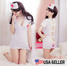 3pc Set Women Uniform Sexy Lingerie Costume Nurse Cosplay Lace Sheer Dress Doll