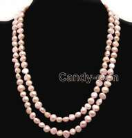 "40"" Baroque 8-9mm Natural Freshwater Light Pink Pearl Long Necklace for Women"