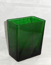 "VINTAGE NAPCO #1166 GREEN RECTANGULAR 6.25"" GLASS VASE ~ MADE IN U.S.A."