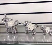 SET OF 3 SILVER MILLE HAPPY ELEPHANT DECORATION ORNAMENT STATUE