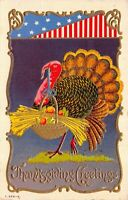 Thanksgiving Postcard Patriotic Turkey Carrying Basket of Wheat and Fruit~127178