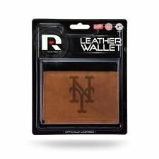 New York NY Mets MLB Embossed Brown Leather Trifold Wallet