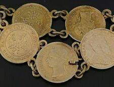 Antique Oriental Hong Kong Silver 5 Cent  Gold Washed Coin Bracelet PK32