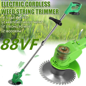Cordless String Lawn Mower Grass Trimmer Weed Eater W/88VF Lithium-ion Batteries