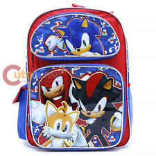 "Sonic The Hedgehog Large School Backpack 16""  Bag Shadow Tails Knuckles Sonic"