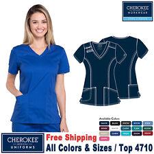 Cherokee Scrubs Core Stretch Women's Medical Uniform V-Neck Top 4710