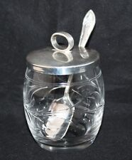 Stevens & Williams - Glass Preserve Pot with EPNS Lid and spoon - c1927