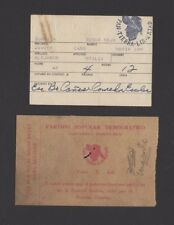 ORIGINAL PPD VOTERS CARD LOT OF 2 / PUERTO RICO / 1944 & 1960's RARE
