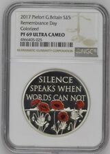 More details for 2017 great britain piedfort silver proof £5 remembrance day pf69uc thick holder