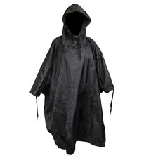 Waterproof US Army Hooded Ripstop Festival Rain Poncho Military Camping Hiking Black One Size