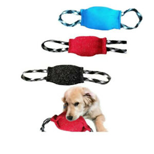 Pet Chew Toy Jute Dog Ball Training Tugs Pillow Teeth Cleaning Nylon Rope Handle