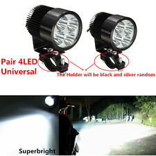 2Pcs 4LED White Motorcycle Headlight Spot Light DRL Driving Fog Lamp Waterproof
