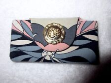 New Pucci Signature Fabric Leather Key Case Holder Wallet Ring Pink Gray Print