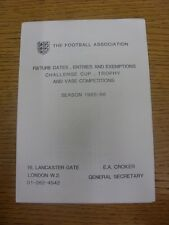 1985/1986 Football Association: Fixture Dates, Entries And Exemptions Challenge