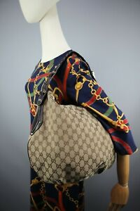 Gucci GG Vintage Brown/Biege Horse Bit Monogram Canvas & leather hobo bag Size L