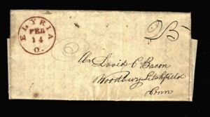 1838 ELYRIA CONNECTICUT STAMPLESS COVER DAVID BACON LETTER