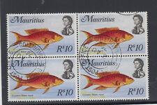 MAURITIUS # 356b 10 Rupees block of four fishVF used