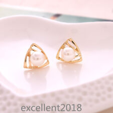 Women 18k Yellow Gold Plated Triangle Pearl Stud Earrings Fashion Jewelry