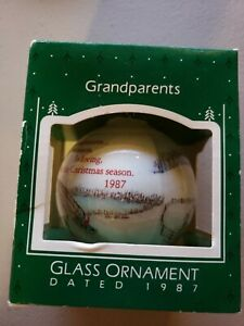 Vintage Hallmark Christmas Ornament 1987 - Grandparents Glass Ornament NOS