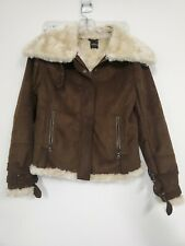Express Suede Faux Fur Lined Brown Jacket Coat Sz M  Women's so CUTE!