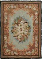 Authentic Stunning Antique Rug French Aubusson Rug Napoleon III Blue 8x10 C.1890