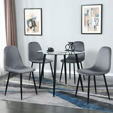 5 Pieces Dining Set Kitchen Room Table Set Dining Table and 4 Deep Gray Chairs