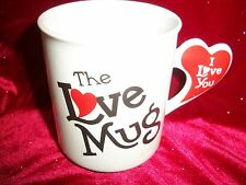 "Heart Mug ""The Love Mug"" 3 1/2"" Tall writen Both Sides/Heart on Handle"