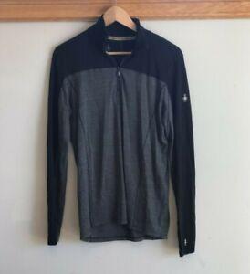 SMARTWOOL Long Sleeve Mens Merino Sport 250 Long Sleeve Top 1/4 Zip BLack Gray M