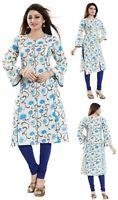 Women Indian Cotton Printed Top 3/4 Sleeves Kurti Tunic Kurta Shirt Dress NK39