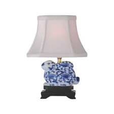 """Blue and White Floral Pattern Bunny Figurine Table Lamp 11.5"""""""