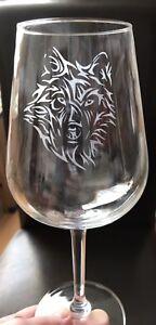 Wine Glass - Tribal Wolf  ***SEE ITEM DESCRIPTION***