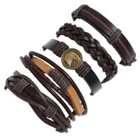 Punk Mens Brown Leather Wrap Braided Wristband Bracelet Cuff Bangle Adjustable