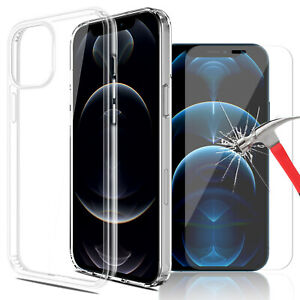 For iPhone 13 12 11 Pro Max mini XS Max Crystal Clear Case/Lens&Screen Protector