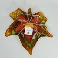 Art Glass Leaf Plates Handmade in Turkey, Set of 3 Autumn Plates Red Gold Green