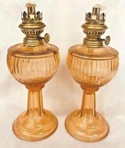 2 Antique French Apricot Color Blown Glass Oil Kerosene / Lamps 1900 - 1920?