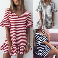 Summer Women Ruffle Beach Casual Party Evening Dresses Cocktail Short Mini Dress