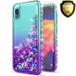 For Motorola Moto E6 /E 2020 Case, Glitter Phone Cover+ Tempered Glass Protector