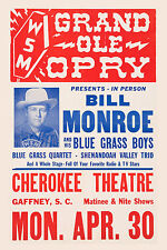 Bill Monroe at South Carolina Concert Poster 1956