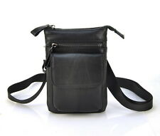 Genuine Leather Men Women Shoulder Handbag Fanny Waist Bag Cellphone Black Purse
