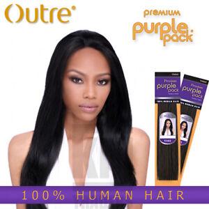 "Outre Purple Pack YAKI 100% Human Hair 8"",10"",12"",14"",16"",18"",20"",22""24"""