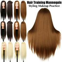 "24"" Hairdressing Practice Head Long Hair Styling Mannequin Makeup Training+Clamp"