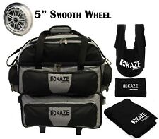 KAZE SPORTS 4 Ball Double Decker Bowling Bag Roller Tote See Saw Grip Sack Towel