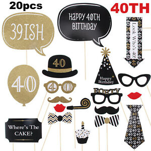 20pcs 40th Black Gold Birthday Party Fun Photo Booth Props Favour Photography