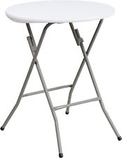24'' Round Granite White Plastic Folding Table - Table Height