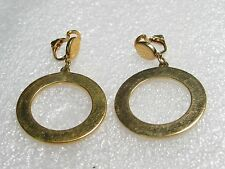 Vintage Goldtone Hoop Clip Earrings with Goldtone Oval Stud