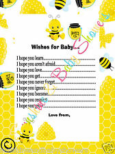 Gorgeous Wishes For Baby Baby Shower Game CUTE BUSY BUMBLE BEE 20 Sheets Players