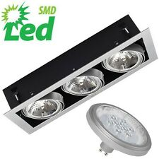 Mains 240v LED 3 Spot Tilt GU10 AR111 Recessed Box Downlight Shop Display Light