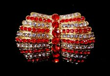 Stunning New Gold Bow Cocktail Stretch Ring with Red and Clear Crystals #R1