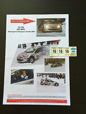 DECALS 1/24 PEUGEOT 206 WRC ROVENPERA RALLYE SUEDE SWEDISH 2001 RALLY TAMIYA