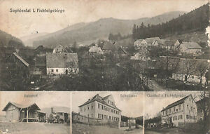 Sophiental OTv Weidenberg 4 Bilder ua Gasthof, Bahnhof  PLZ 95466 gel 1916 FP
